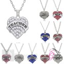Teacher Silver Diamante Heart Design Rhinestone Pendant Silver Plated Necklace - Silver