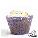 12 X Simply Gorgeous Laser Cut Vine Cupcake Wrappers - Purple