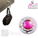 Crystal Hand Bag / Purse Folding Hook Hanger - Dark Pink