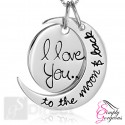 "Vintage Silver Pendant Necklace ""I Love You To The Moon And Back"""