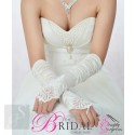 Ivory Satin Fingerless Bridal Gloves