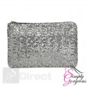 Ladies Sparkling Sequin Clutch Handbag Bag - Silver
