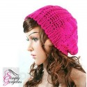 Ladies Stylish Beanie Knitted Hat - Hot Pink