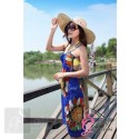 Bold Flower Pattern Beach Cover Up Sarong Dress - Blue