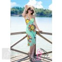 Bold Flower Pattern Beach Cover Up Sarong Dress - Green