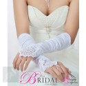 White Satin Fingerless Bridal Gloves