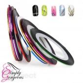 12 Colour Rolls Nail Art Lace Tape Line Strips False Nails Decoration Stickers